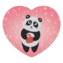 """Коврик для мышки (сердце) """"Панда с сердечком"""" - любовь, панда, розовый, сердечки"""