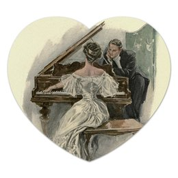 "Коврик для мышки (сердце) ""на 8 Марта учителю музыки"" - настроение, картина, винтаж, 14фев, harrison fisher"