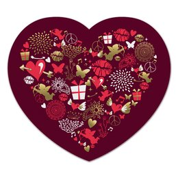 "Коврик для мышки (сердце) ""Валентинка"" - сердце, любовь, губы, валентинка"