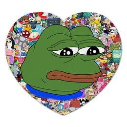 "Коврик для мышки (сердце) ""Sad Frog"" - мем, meme, sad frog, pepe frog, pepe the frog"