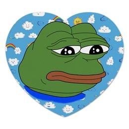 "Коврик для мышки (сердце) ""Pepe Frog"" - мем, meme, грустная лягушка, sad frog, pepe frog"
