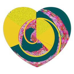 """Коврик для мышки (сердце) """"Спираль"""" - спираль, желтый, зеленый, розовый, кольца"""
