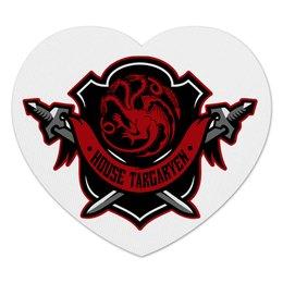 "Коврик для мышки (сердце) ""House Targaryen"" - дракон, огонь, игра престолов, game of thrones, таргариен"