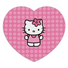 """Коврик для мышки (сердце) """"Kitty в горошек"""" - мультик, hello kitty, мультфильм, для детей, привет китти"""