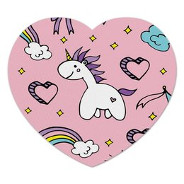 """Коврик для мышки (сердце) """"крутой аксессуар для компьютерной мыши """" - розовый, единорог, радуга, счастье, принцессы"""