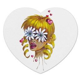 """Коврик для мышки (сердце) """"Без ума от цветов"""" - любовь, девушка, цветы, сердца, блондинка"""