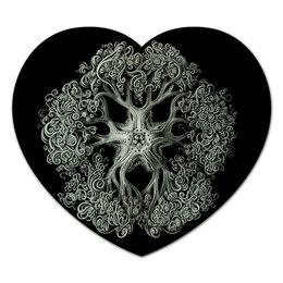 """Коврик для мышки (сердце) """"Ophiodea Эрнста Геккеля"""" - картина, черно-белый, биология, красота форм в природе, эрнст геккель"""