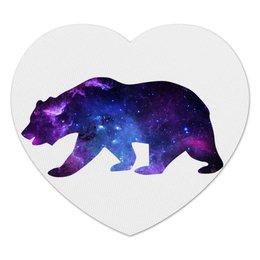 "Коврик для мышки (сердце) ""Space animals"" - space, bear, медведь, космос, астрономия"