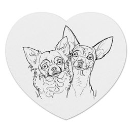 "Коврик для мышки (сердце) ""ЧИХУАшки"" - собаки, чихуа, парочка, мимимишность"