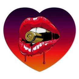 """Коврик для мышки (сердце) """"Пуля во рту"""" - губы, рот, зубы, пуля, bullet"""