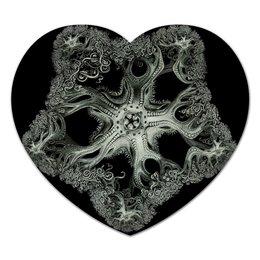 """Коврик для мышки (сердце) """"Astrophyton Darwinium Эрнста Геккеля"""" - картина, черно-белый, биология, красота форм в природе, эрнст геккель"""