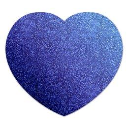 """Коврик для мышки (сердце) """"Синее сердце"""" - сердце, синий, блестяшки, глиттер"""