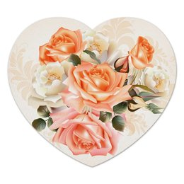 """Коврик для мышки (сердце) """"Чайная роза"""" - розы, цветы"""