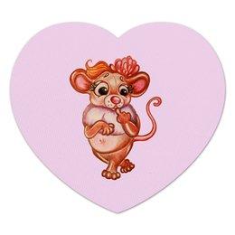 """Коврик для мышки (сердце) """"Год Мыши"""" - розовый, девочка, мышка, милашка, зверюшка"""