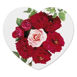 """Коврик для мышки (сердце) """"Flowers"""" - сердце, love, розы, roses"""