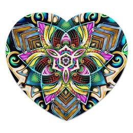 "Коврик для мышки (сердце) ""Mandala HD 4"" - узор, ретро, классика, этно, симметрия"
