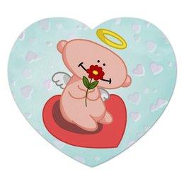 """Коврик для мышки (сердце) """"Влюбленный ангелок с сердцем"""" - сердце, любовь, цветок, ангел"""