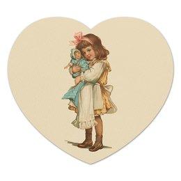 """Коврик для мышки (сердце) """"Девочка с куклой."""" - игра, ретро, рисунок, кукла, девочка"""
