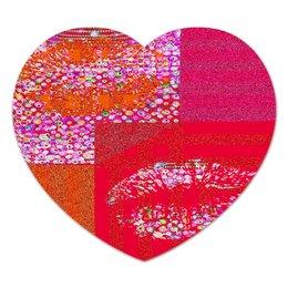"""Коврик для мышки (сердце) """"Красные углы"""" - красный, губы, розовый, поцелуи, полоски"""