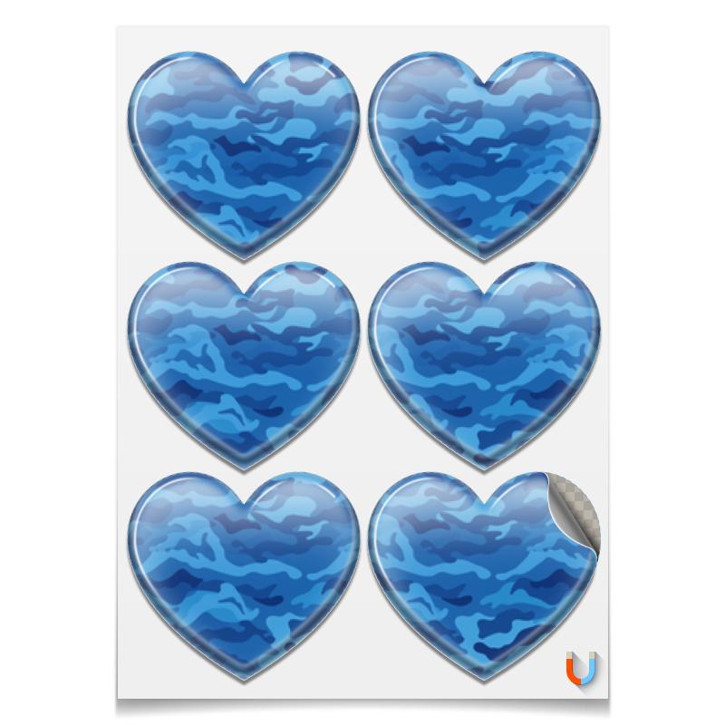 Наклейки сердца Printio Камуфляж синий printio наклейки сердца
