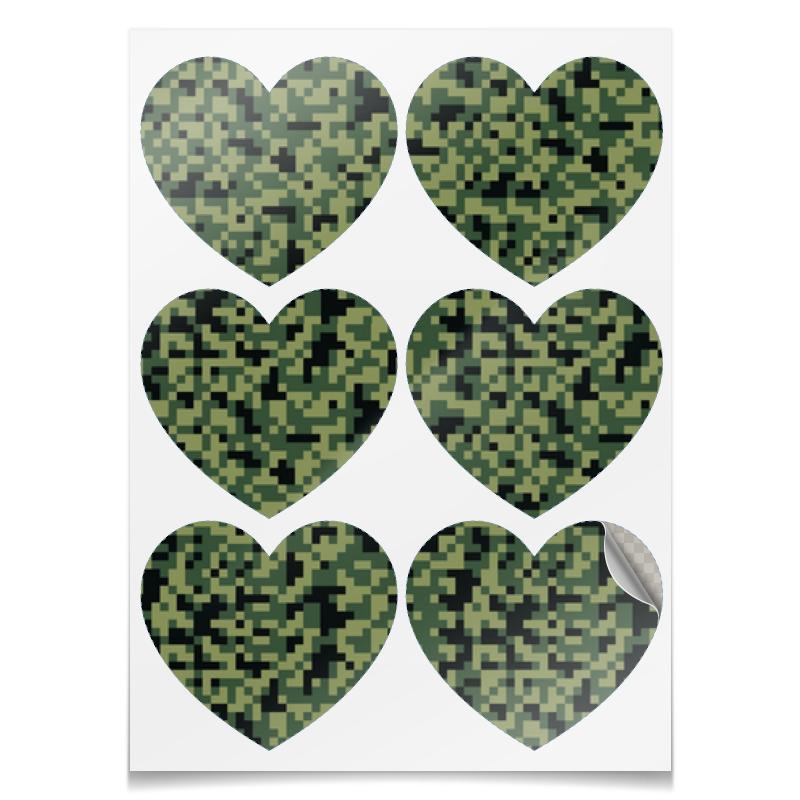 все цены на Наклейки-сердца 7.5x9.7см Printio Камуфляж