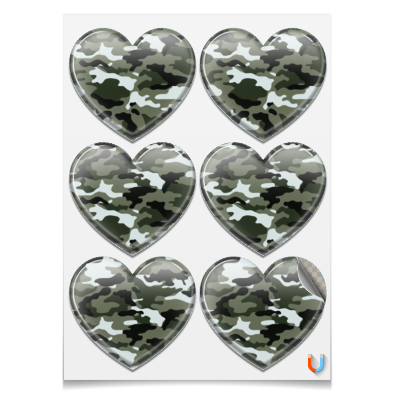 Наклейки сердца Printio Камуфляж 3 printio наклейки сердца