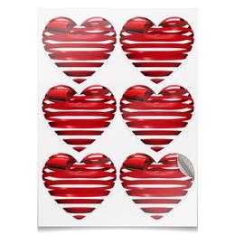 """Наклейки-сердца 7.5x9.7см """"3D с бантиком"""" - день святого валентина, 14 февраля, ко дню влюбленных, valentine's day, день влюбленных"""