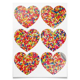 """Наклейки сердца """"Наклейки Цветная посыпка"""" - абстракция, цветная посыпка, радуга, праздник, текстура"""