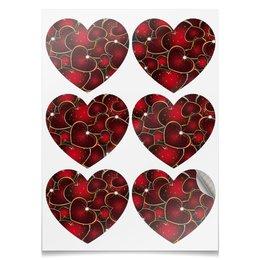 """Наклейки-сердца 7.5x9.7см """"ГОРЯЧЕЕ СЕРДЦЕ"""" - стиль, красота, яркость, абстракция, арт фэнтези"""