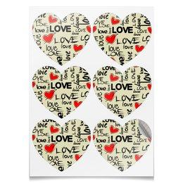 """Наклейки-сердца 7.5x9.7см """"СЕРДЕЧНЫЙ РИТМ"""" - любовь, абстракция, стиль надпись логотип яркость, арт фэнтези"""
