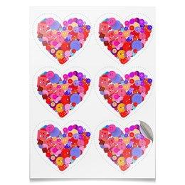 """Наклейки-сердца 7.5x9.7см """"День всех влюбленных"""" - любовь, день святого валентина, валентинка, i love you, день влюбленных"""