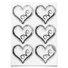 "Наклейки-сердца 7.5x9.7см ""Love stickers"" - сердце, любовь, день святого валентина, 8 марта, подарок"