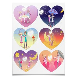 """Наклейки-сердца 7.5x9.7см """"день  влюбленных"""" - любовь, арт, стиль, рисунок"""