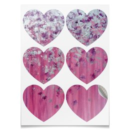 """Наклейки-сердца 7.5x9.7см """"Розовое настроение"""" - любовь, розовый, нежность, серебро, женское"""