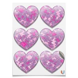 "Наклейки-сердца 7.5x9.7см ""Камуфляж ""Мраморный (розовый)"" "" - узор, розовый, авторское, камуфляж, мрамор"
