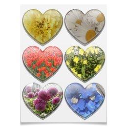 """Наклейки-сердца 7.5x9.7см """"Райский цветник."""" - цветы, ромашки, тюльпаны, георгины, цветник"""