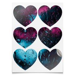 """Наклейки-сердца 7.5x9.7см """"Дождь"""" - дождь, drip, glass, dribble, стекающие капли"""
