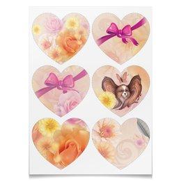 """Наклейки-сердца 7.5x9.7см """"Цветы, розовый бантик и портрет Папильона"""" - подарок, розы, цветы и узоры, собака папильон, розовый бант"""