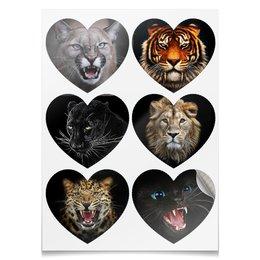 """Наклейки-сердца 7.5x9.7см """"ХИЩНОЕ СЕРДЦЕ"""" - хищник, животные, стиль, красота, арт фэнтези"""