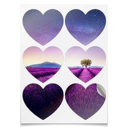 "Наклейки сердца ""Без названия"" - космос, небо, природа, звёзды, лаванда"