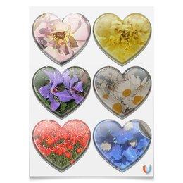 """Наклейки-сердца 7.5x9.7см """"Цветущие сердца."""" - цветы, роза, ромашки, тюльпаны, цветник"""