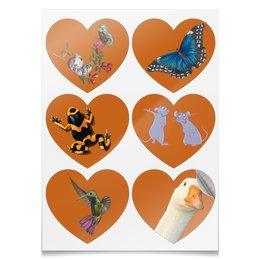 "Наклейки-сердца 7.5x9.7см ""Набор юного натуралиста"" - бабочки, гусь, лягушка, крыса, колибри"