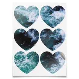 """Наклейки-сердца 7.5x9.7см """"Бескрайнее море"""" - море, легкость, юность, слёзы, загадки"""