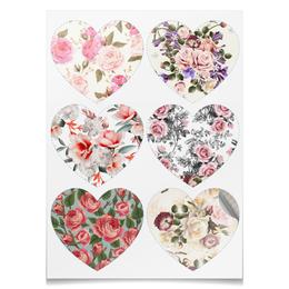 "Наклейки сердца ""Цветы"" - цветы, розы"