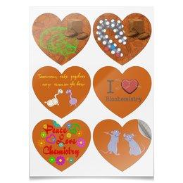 "Наклейки сердца ""Набор юного биохимика"" - chocolate, biochemistry, dopamine, anandamide, serotonin"