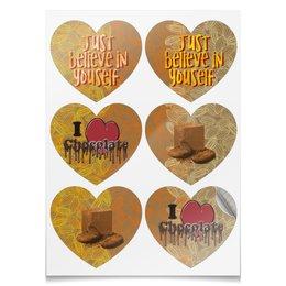 """Наклейки-сердца 7.5x9.7см """"I <3 chocolate"""" - сердце, орнамент, шоколад, chocolate, believe"""