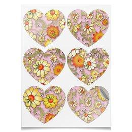 """Наклейки-сердца 7.5x9.7см """"ЦВЕТОЧНЫЙ СТИЛЬ"""" - стиль, красота, нежность, цветочный узор, арт фэнтези"""