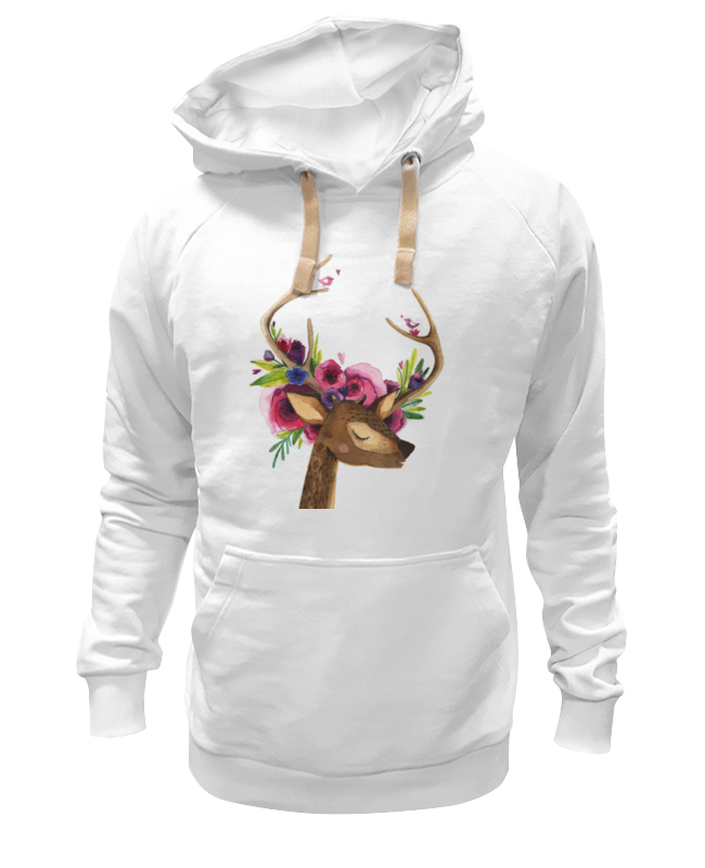 Толстовка Wearcraft Premium унисекс Printio Олень с цветами в рогах толстовка wearcraft premium унисекс printio муравьед с цветами