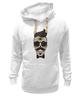 "Толстовка Wearcraft Premium унисекс ""Череп, усы и бабочка"" - skull, череп, арт, усы, hipster, mustache"