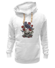 "Толстовка Wearcraft Premium унисекс ""Череп и ворон"" - skull, арт, авторские майки, black, red, tattoo, тату, розы, raven, roses"